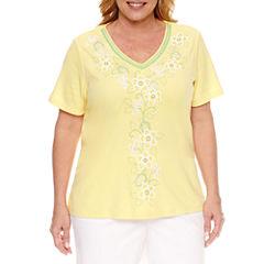 Alfred Dunner Short Sleeve V Neck T-Shirt-Womens Plus