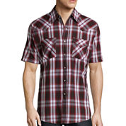 Ely Cattleman® Short-Sleeve Western Plaid Snap Shirt -Big & Tall