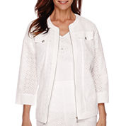 Alfred Dunner® White Now 3/4-Sleeve Eyelet Jacket