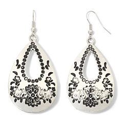 Decree® Engraved Silver-Tone Teardrop Earrings