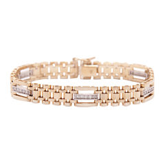 Mens 5/8 CT. T.W. Diamond 14K Two-Tone Gold Link Bracelet
