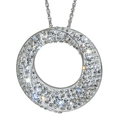 Sterling Silver White Crystal Circle Pendant Necklace