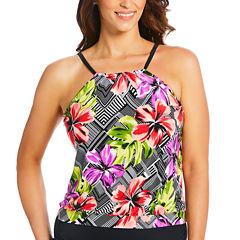 St. John's Bay High Neck Blouson Selena Swimsuit Top