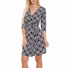 White Mark Mariah 3/4 Sleeve Wrap Dress
