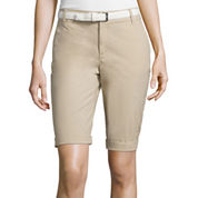 Liz Claiborne® Belted Roll-Cuff Poplin Walking Shorts - Tall