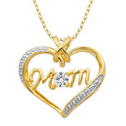 Classic Treasures™ Lab-Created White Sapphire Two-Tone Mom Heart Pendant Necklace