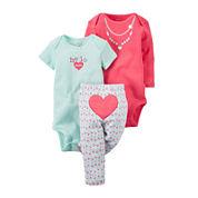 Carter's® 3-pc. Heart Layette Set - Baby Girls newborn-24m