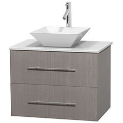 Centra 30 inch Single Bathroom Vanity; White Man-Made Stone Countertop; Pyra White Porcelain Sink; and No Mirror