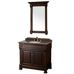 Andover 36 inch Single Bathroom Vanity; Imperial Brown Granite Countertop; Undermount Oval Sink; and28 inch Mirror