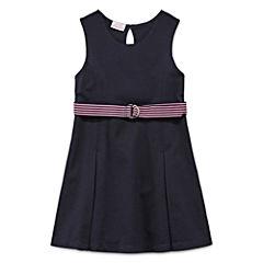 IZOD® Sleeveless Belted Knit Dress - Preschool Girls 4-6x