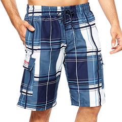 USPA Block Plaid Cargo Swim Short