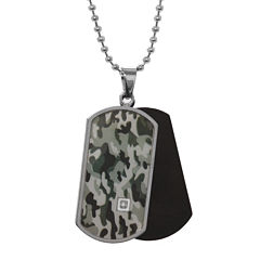 Mens Diamond-Accent Stainless Steel Camouflage Dog Tag