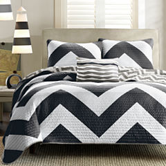 Mi Zone Pisces Reversible Chevron Coverlet Set