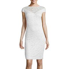 Blu Sage Sheer Yoke Lace Sheath Dress