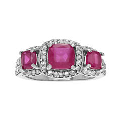 Color-Enhanced Ruby and Genuine White Topaz Sterling Silver Ring