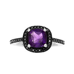Journee Collection Genuine Amethyst and Black Spinel Sterling Silver Ring