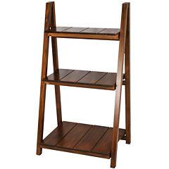 Slatted 3-Shelf Folding Bookcase