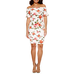 Bisou Bisou Short Sleeve Floral Bodycon Dress