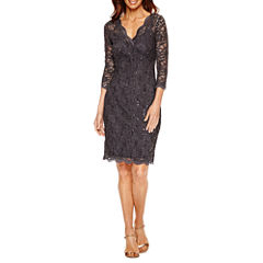 Blu Sage 3/4 Sleeve V-Neck Lace Sheath Dress - Petite
