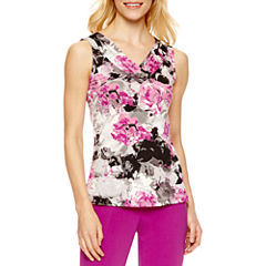 Chelsea Rose Sleeveless V Neck Blouse