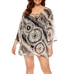 Porto Cruz Tie Dye Chiffon Swimsuit Cover-Up Dress-Plus