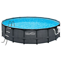 Summer Waves Elite Dark Wicker 18-ft Round Metal Frame Pool Package - 52-in Deep
