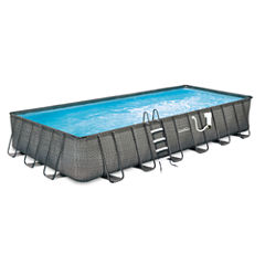 Summer Waves Elite Dark Wicker 12-ft x 24-ft Rect.Metal Frame Pool Package - 52-in Deep