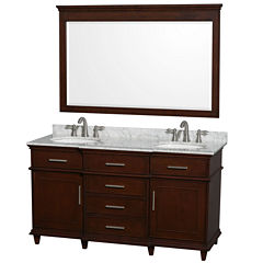 Berkeley 60 inch Double Bathroom Vanity; White Carrera Marble Top with White Undermount Oval Sinks and 56 inch Mirror
