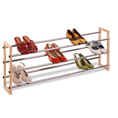 Honey-Can-Do® 3-Tier Expandable Wood and Metal Shoe Rack