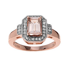 Genuine Pink Morganite & White Topaz 14K Rose Gold Over Silver Ring