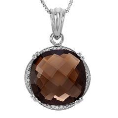 1/10 CT. T.W. Diamond and Genuine Smoky Topaz Sterling Silver Pendant Necklace