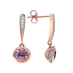 Genuine Pink Amethyst and White Topaz 14K Rose Gold Over Silver Earrings