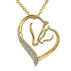 ASPCA® Tender Voices™ Diamond-Accent Mom & Baby Horse Pendant Necklace
