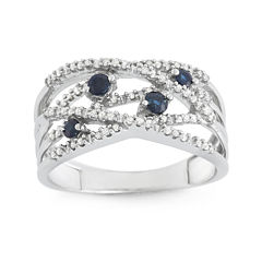 LIMITED QUANTITIES! Genuine Sapphire and 1/5 CT. T.W. Diamond White Gold Swirl Ring