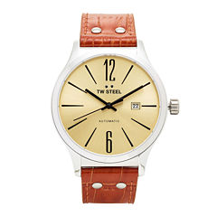 TW Steel Mens Brown Slim Auto Strap Watch