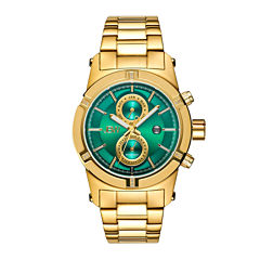 Jbw Mens Goldtone And Green Dial Diamond Accent Bracelet Watch