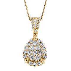 1 CT. T.W. Certified Diamond 14K Yellow Gold Pendant Necklace