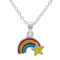 Hallmark Kids Sterling Silver Enamel Rainbow Pendant Necklace