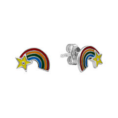 Hallmark Kids Sterling Silver Enamel Rainbow Stud Earrings