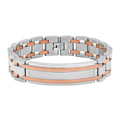 Mens Cubic Zirconia Two Tone Stainless Steel ID Bracelet