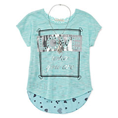 Self Esteem® Short-Sleeve Graphic Top with Necklace - Girls 7-16