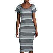 Worthington® Short-Sleeve Striped Midi Dress