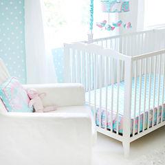 My Baby Sam Pixie Baby In Aqua Bumperless Crib Sheet