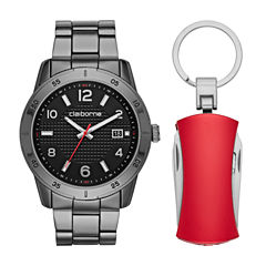 Liz Claiborne Mens Black 2-pc. Watch Boxed Set-Clm9011