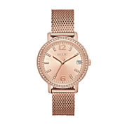 Relic Womens Laurie Crystal Accent Rosegold Mesh Strap Watch-Zr34399