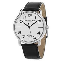 Stuhrling Mens Black Strap Watch-Sp15501