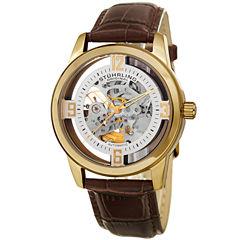 Stuhrling Mens Brown Strap Watch-Sp15353