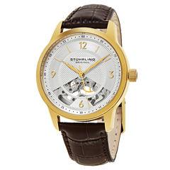 Stuhrling Mens Brown Strap Watch-Sp15509