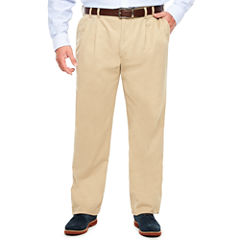 IZOD Big & Tall Sportflex Waistband Stretch Pleated Chino Pants