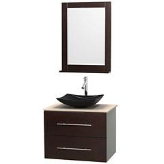 Centra 30 inch Single Bathroom Vanity; Ivory Marble Countertop; Arista Black Granite Sink; and 24 inch Mirror